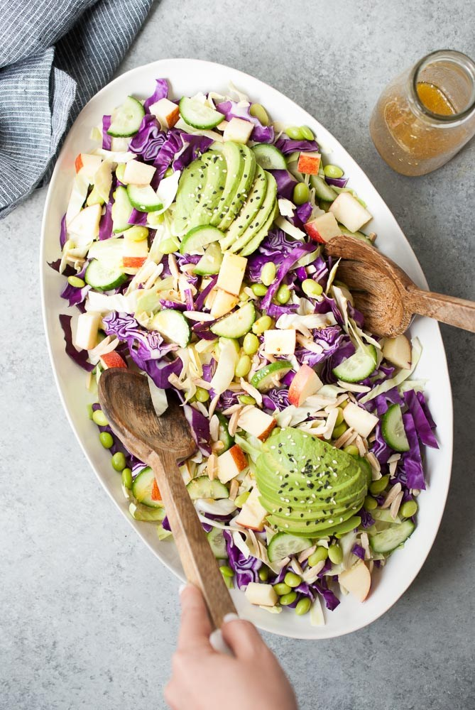 spring salad recipe cabbage with apple cucumber and avocado salad, healthy salad ideas, salad recipes