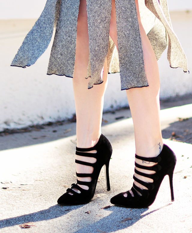 Carwash pleat skirt DIY +Velvet strap heels