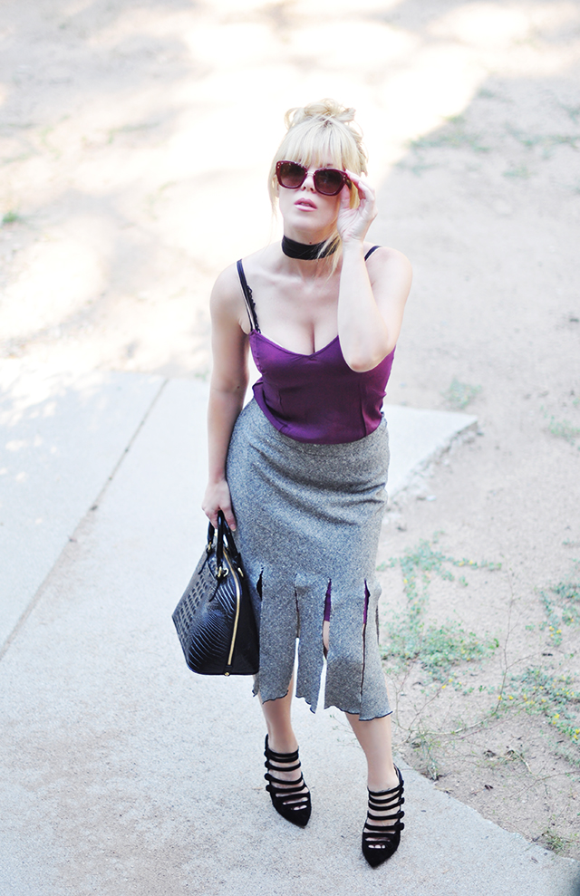 Carwash pleat skirt_burgundy slip_velvet strappy heels