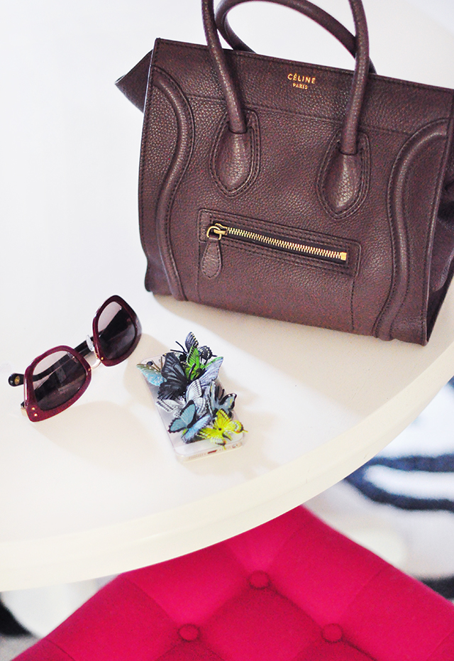 Celine bag_Butterfly iPhone case_Marc Jacobs sunglasses