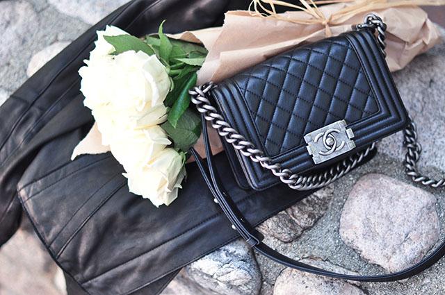 Chanel boy bag_white roses_leather jacket