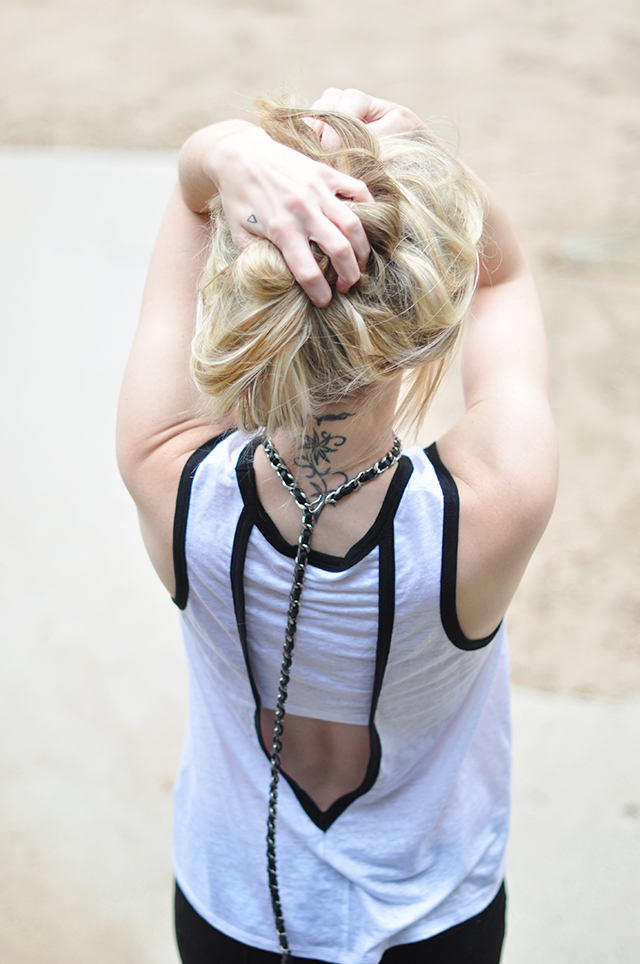 Chanel chain belt as necklace_ neck tattoo