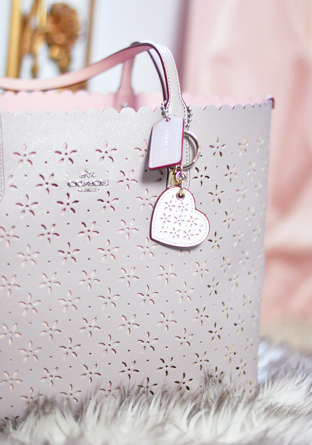 Coach tote bag and heart keychain