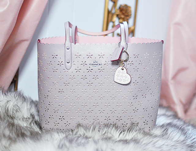 Coach tote bag_perforated flowers