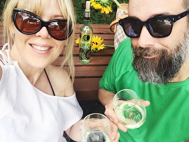 Couple selfie_ wine cheers