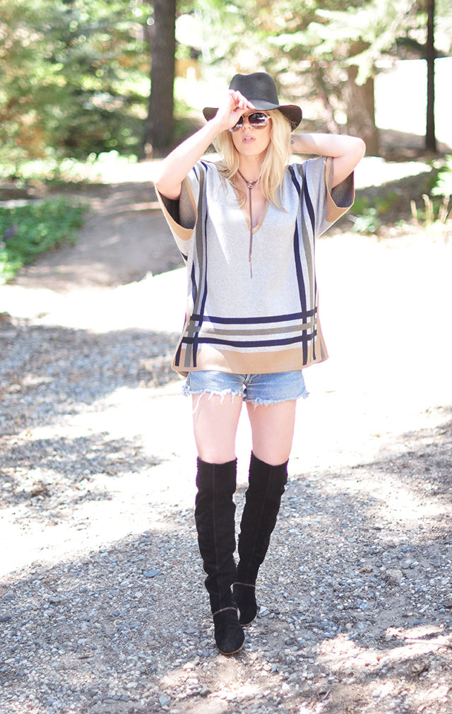 Cowboy Boho_O-ring necklace_cutoffs_poncho sweater_over the knee boots