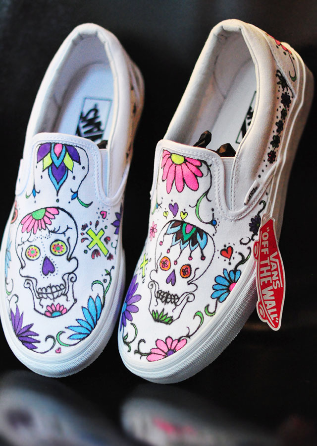 Custom Sugar Skull Day of the Dead vans slip ons
