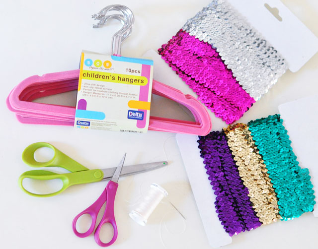 Cute sequin kids hangers diy