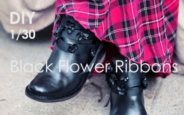 DIY 1 black flower ribbons for your boots