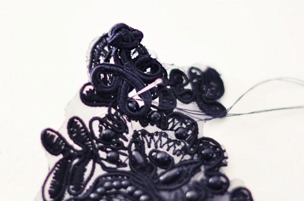 DIY BLack Lace Beaded Bracelet-3