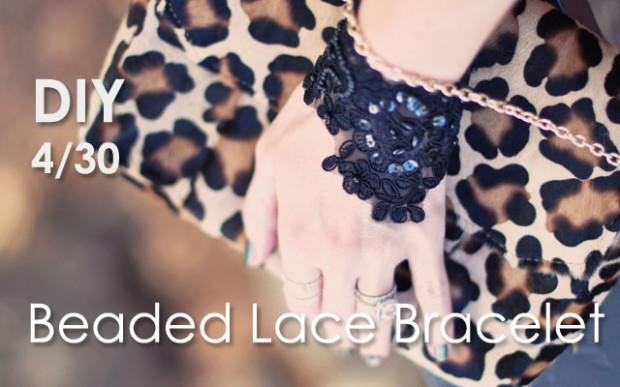 DIY BLack Lace Beaded Bracelet-feature-leopard
