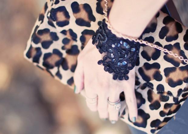 DIY BLack Lace Beaded Bracelet-leopard bag