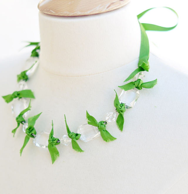 DIY Crystal Ribbon Necklace for St. Patrick's Day