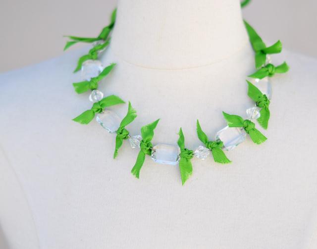 DIY Crystal Ribbon Necklace