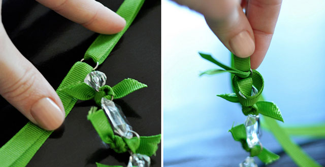 DIY Crystal and Ribbon Necklace 2