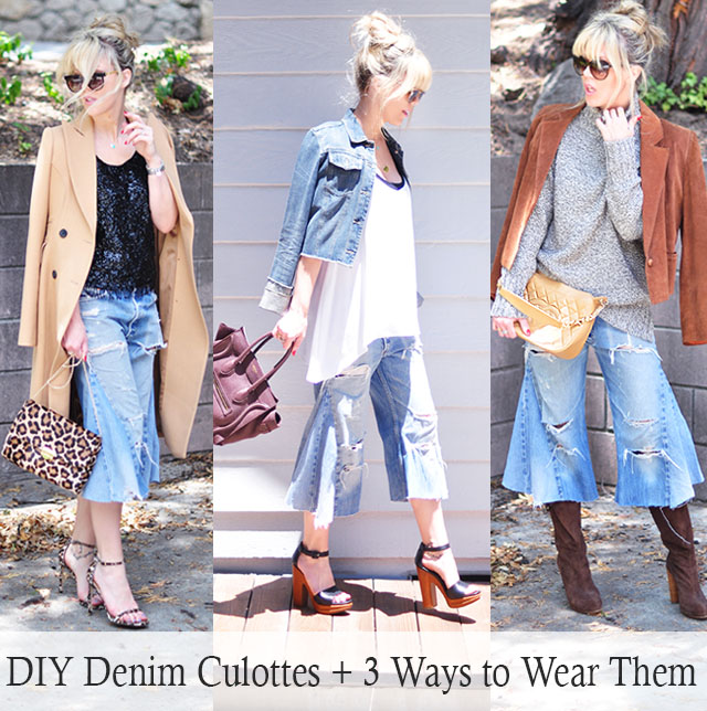 DIY Denim Culottes+3 Ways to Wear them into Fall