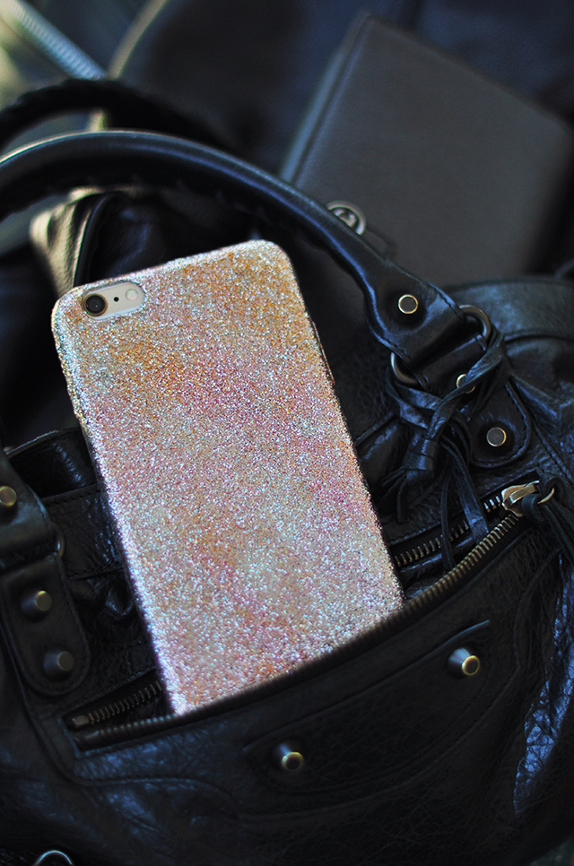 DIY Disco Glitter iPhone Case-Chanel wallet_Balenciaga bag