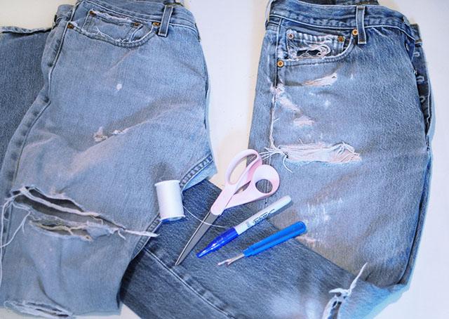 DIY Distressed Denim Culottes_Vintage Levi's-1