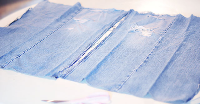 DIY Distressed Denim Culottes_Vintage Levi's-7