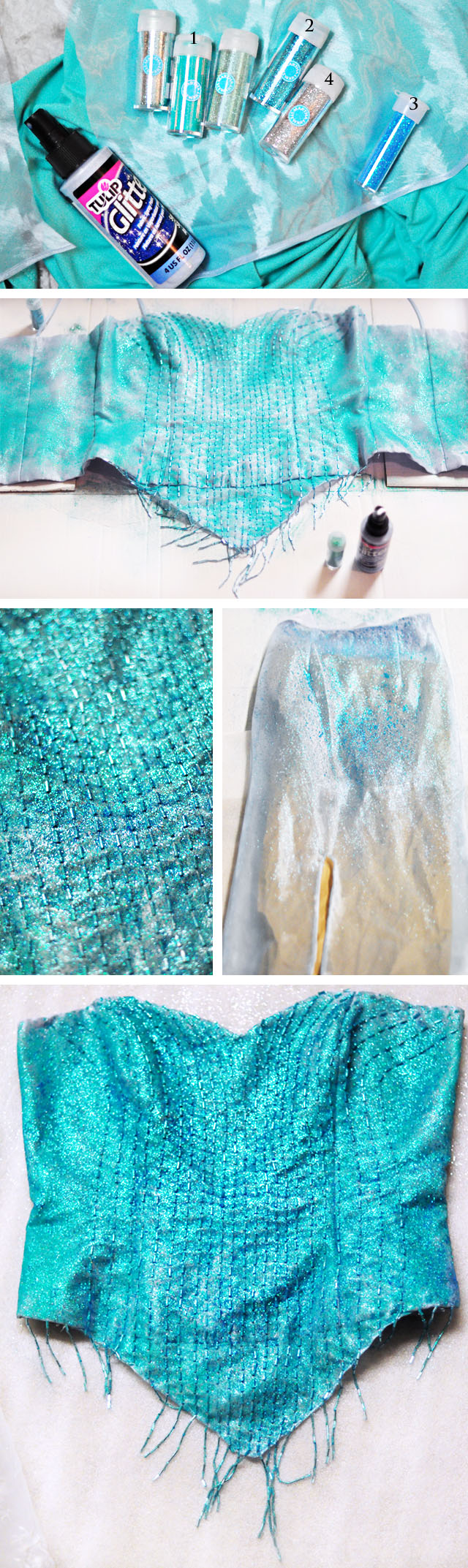 DIY Elsa costume-glittering