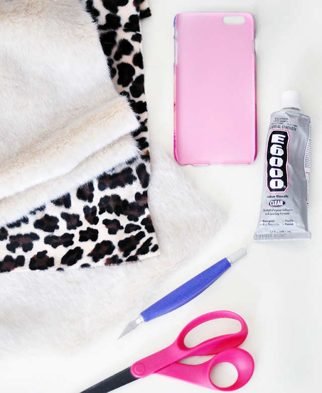DIY Faux Fur leopard phone case-1