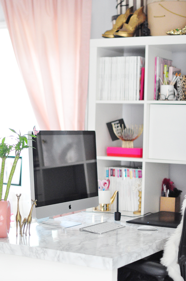 DIY Faux Marble Top - Home office desk makeover