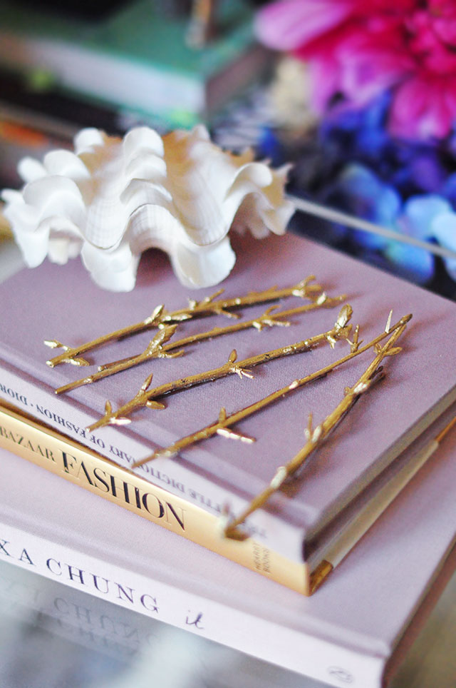 DIY Gold Branch hair pins _ fashion books