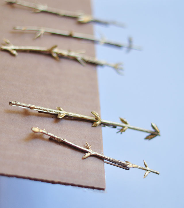 DIY Gold Branch hair pins_5