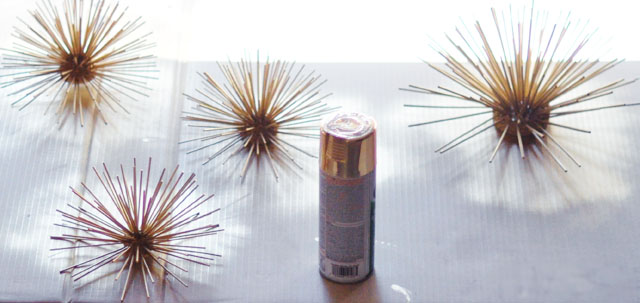 DIY Gold Sea Urchins wall art decor-5