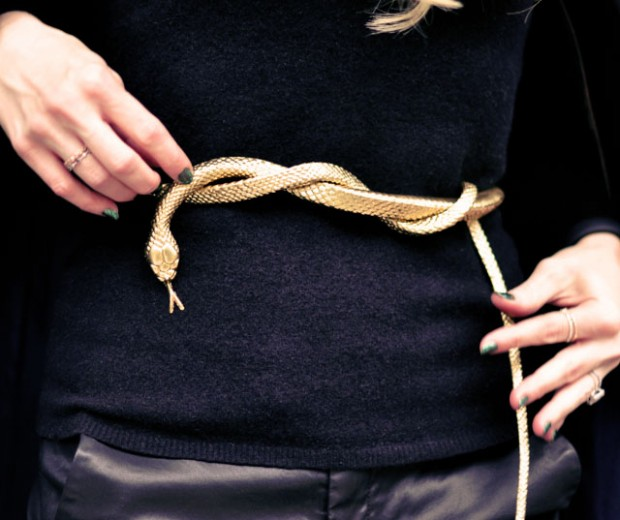 DIY Gold Snake Belt  from rubber toy snake