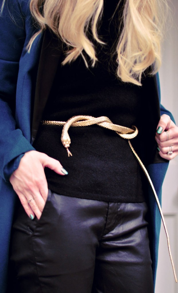 DIY Gold Snake Belt- leather pants