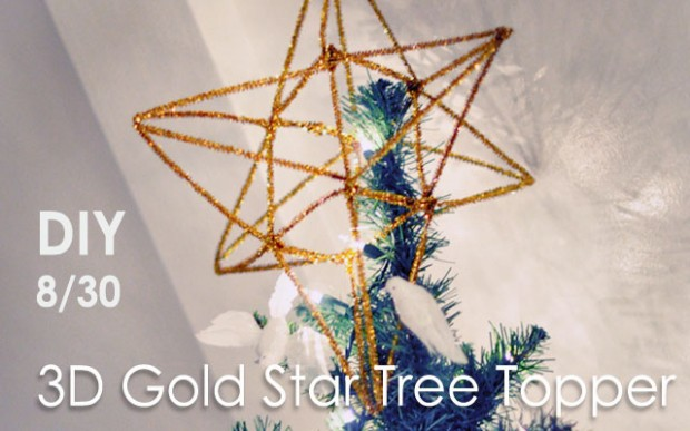 DIY Gold Star Tree Topper 3d pipe cleaners