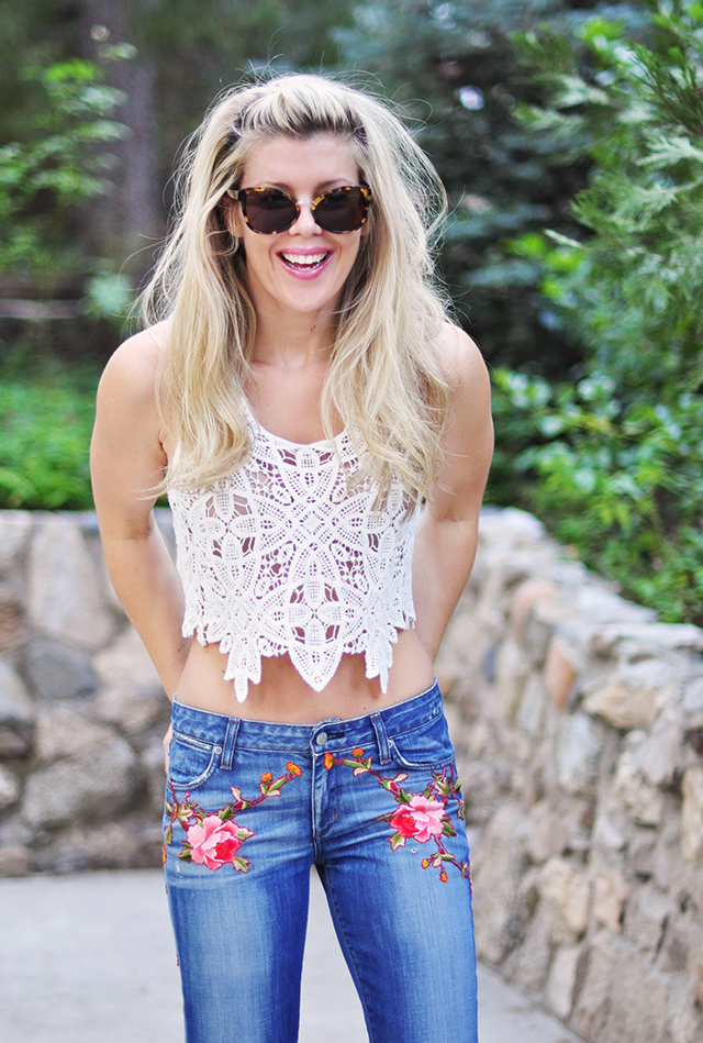 DIY Gucci Embroidered Jeans-lace crop top