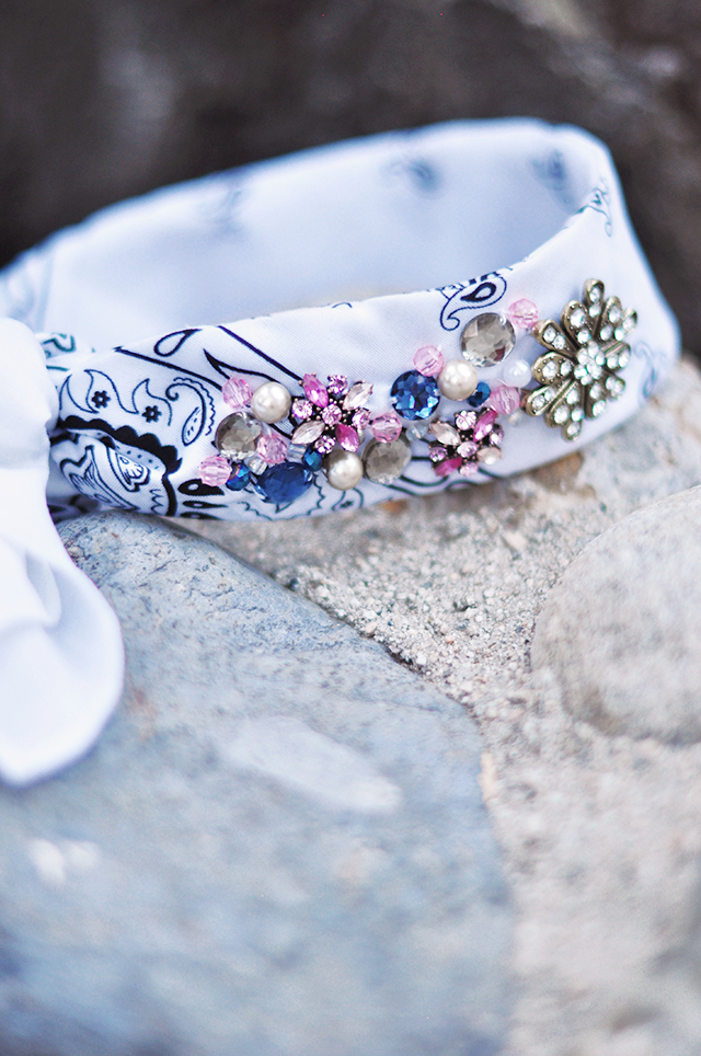 DIY Jeweled Bandana Scarf Choker Headband-18