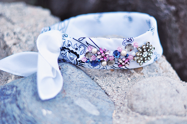 DIY Jeweled Bandana Scarf Choker Headband-19