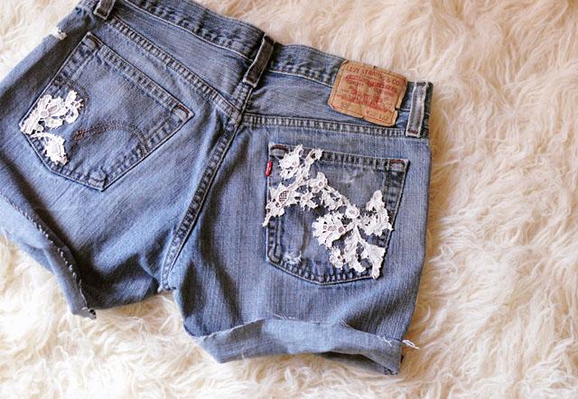 DIY Lace Jean Shorts back