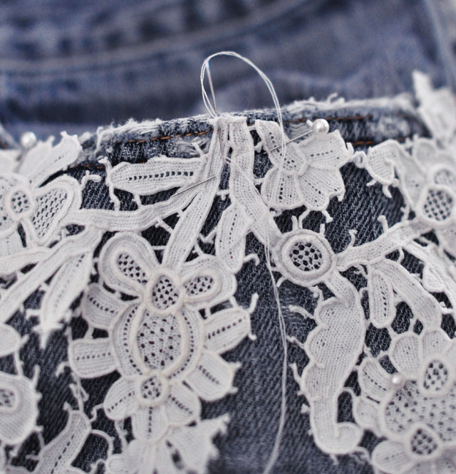 DIY Lace embroidered jean shorts-4