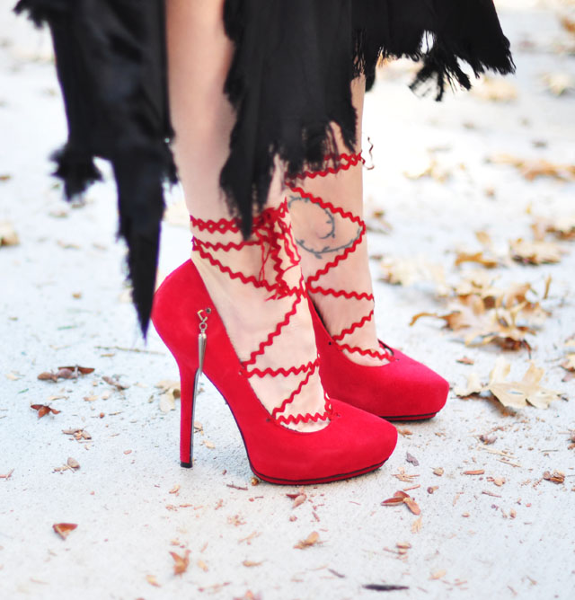 DIY Lace up Pumps-red platforms with chevron laces