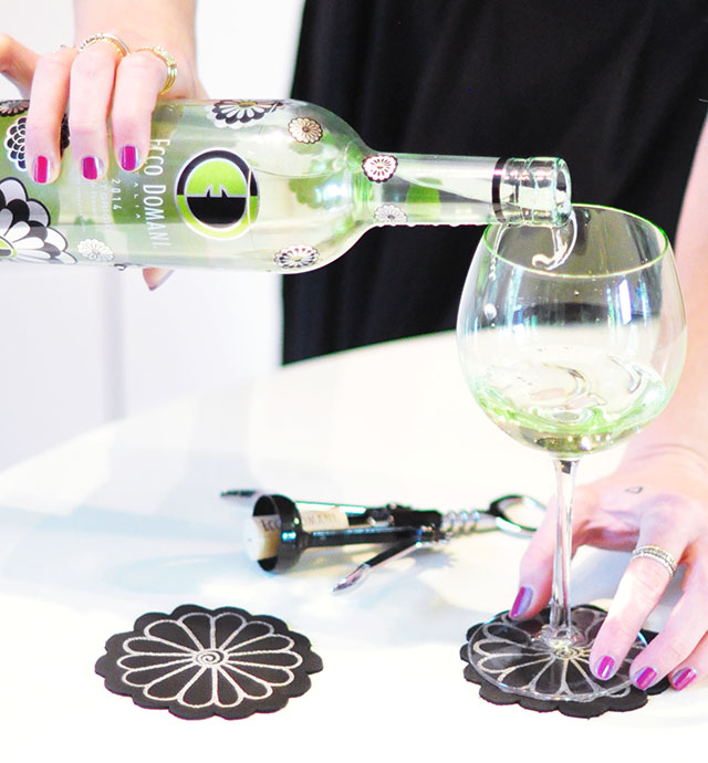 DIY Leather Flower Coasters_Ecco Domani Wine Zac Posen Bottle_1