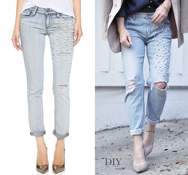 DIY  -  Pearl embellished distressed skinny boyfriend jeans_denim on denim