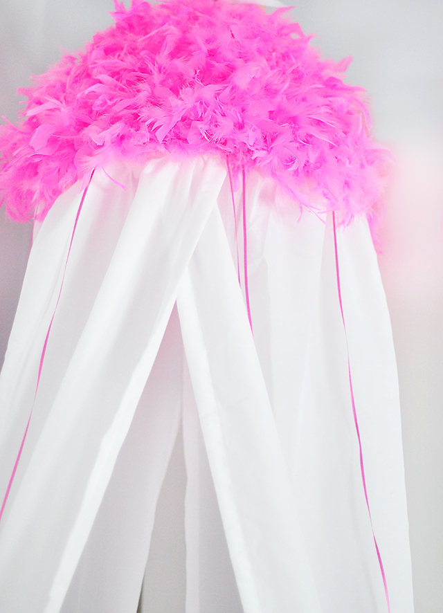 DIY Pink Feather Canopy for girls
