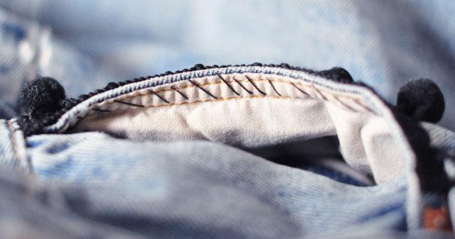 DIY Pom Pom Jeans - Embellished Vintage Levis-6
