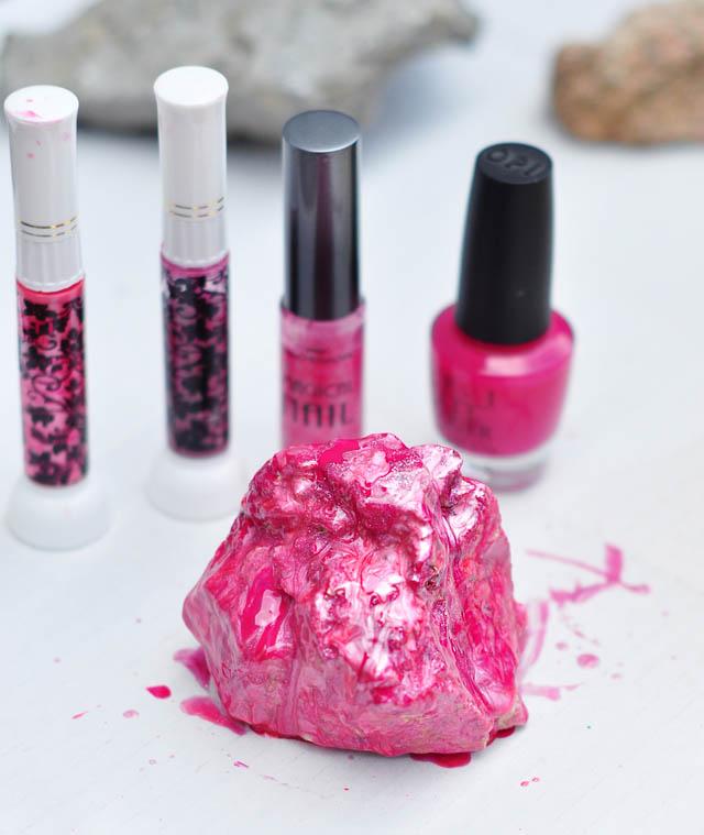DIY Rock Crystals with Nail Polish -pink