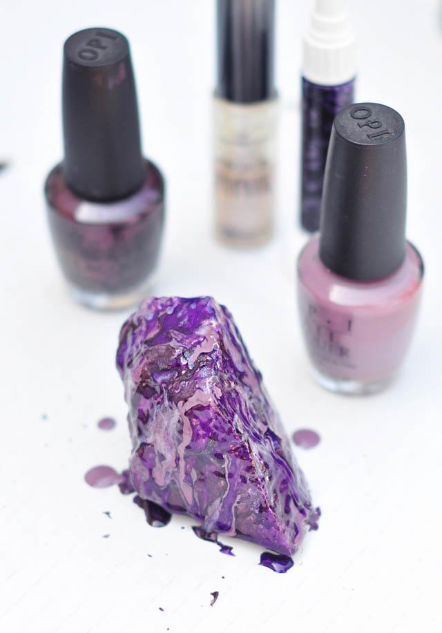 DIY Rock Crystals with Nail Polish-purple