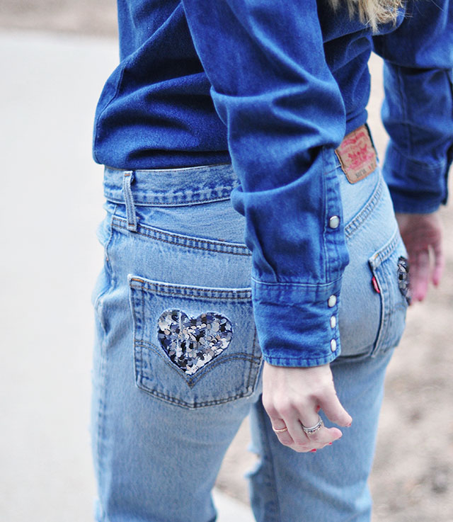 DIY Sequined heart cut out pockets _ levis 501