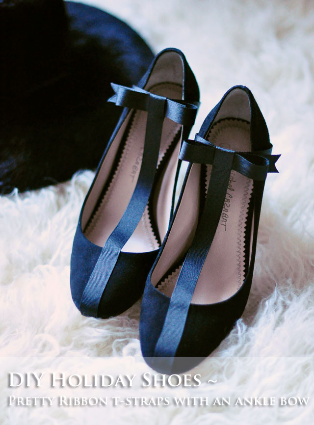 DIY Shoes - pretty black t-strap heels