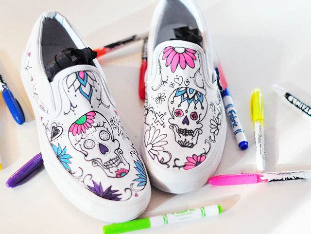 DIY Sugar Skull Day of the Dead Vans