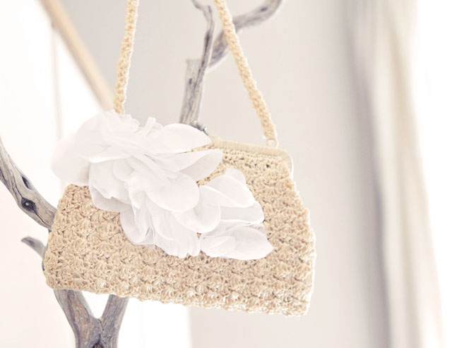 DIY Wedding petal bag purse clutch-