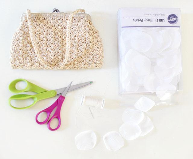 DIY Wedding petal bag purse clutch-1