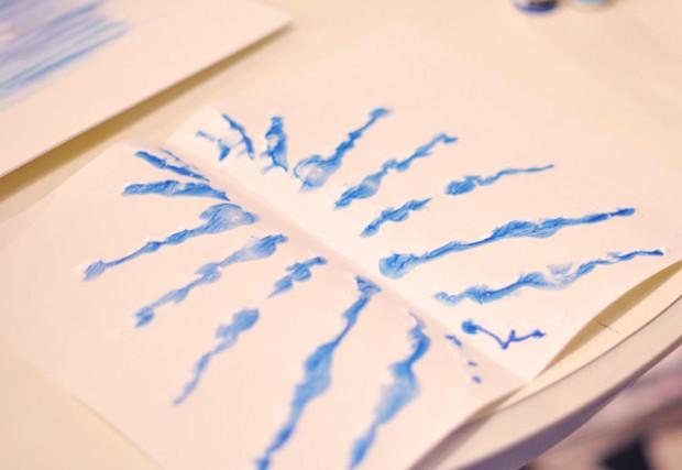 DIY blue and white art